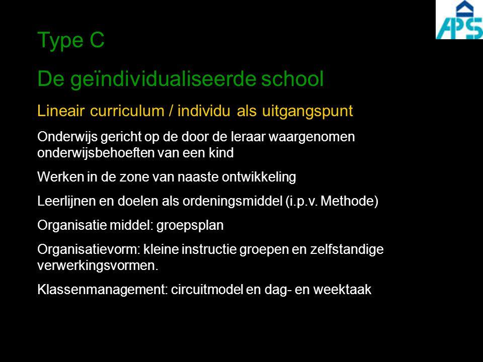 Type C De geïndividualiseerde school Lineair curriculum / individu als uitgangspunt Onderwijs gericht op de door de leraar waargenomen onderwijsbehoeften van een kind Werken in de zone van naaste ontwikkeling Leerlijnen en doelen als ordeningsmiddel (i.p.v.
