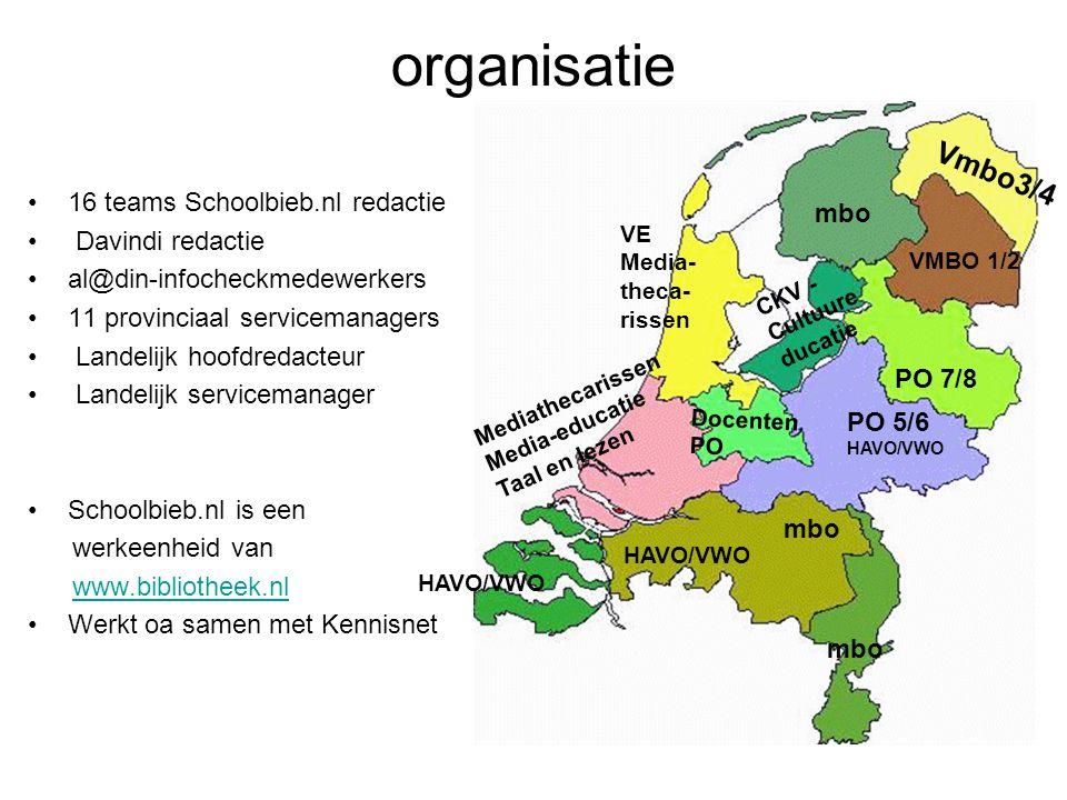 organisatie 16 teams Schoolbieb.nl redactie Davindi redactie al@din-infocheckmedewerkers 11 provinciaal servicemanagers Landelijk hoofdredacteur Landelijk servicemanager Schoolbieb.nl is een werkeenheid van www.bibliotheek.nl Werkt oa samen met Kennisnet PO 5/6 HAVO/VWO PO 7/8 Vmbo3/4 mbo HAVO/VWO mbo VMBO 1/2 CKV - Cultuure ducatie VE Media- theca- rissen Mediathecarissen Media-educatie Taal en lezen HAVO/VWO Docenten PO