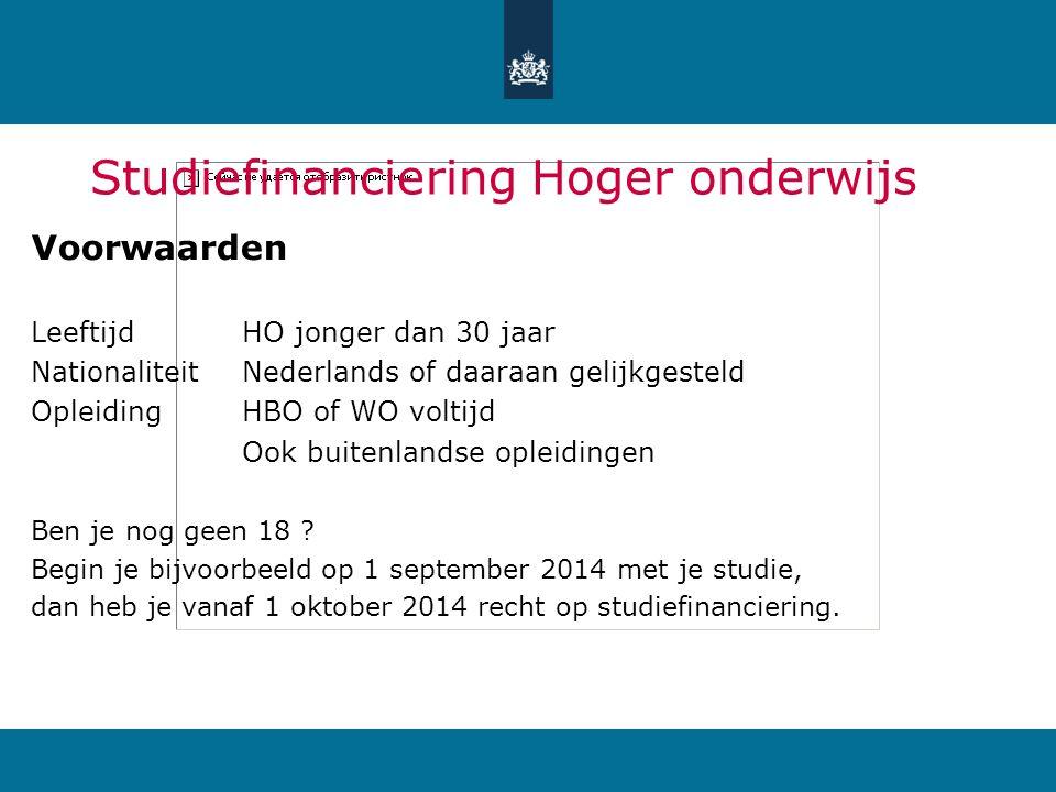Studiefinanciering HO Prestatiebeurs: Basisbeursaltijd Ov-studenten (chip)kaartaltijd Aanvullende beursouderlijk inkomen én Rentedragende lening(2013: 0,6%) Collegegeldkrediet(2013: 0,6%)