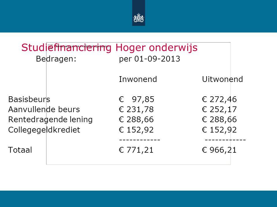 Studiefinanciering Hoger onderwijs Bedragen: per 01-09-2013 InwonendUitwonend Basisbeurs€ 97,85€ 272,46 Aanvullende beurs€ 231,78€ 252,17 Rentedragend