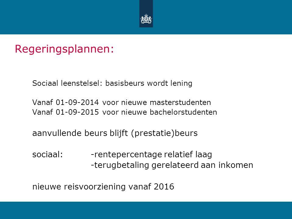 Regeringsplannen: Sociaal leenstelsel: basisbeurs wordt lening Vanaf 01-09-2014 voor nieuwe masterstudenten Vanaf 01-09-2015 voor nieuwe bachelorstude