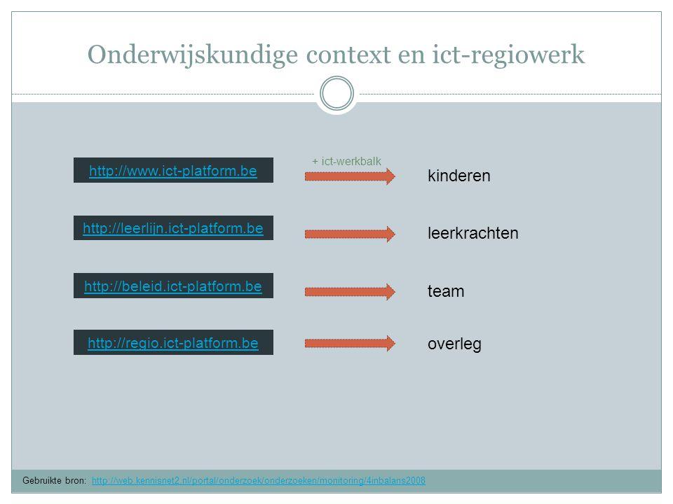Onderwijskundige context en ict-regiowerk http://leerlijn.ict-platform.be http://www.ict-platform.be http://regio.ict-platform.be Gebruikte bron: http://web.kennisnet2.nl/portal/onderzoek/onderzoeken/monitoring/4inbalans2008http://web.kennisnet2.nl/portal/onderzoek/onderzoeken/monitoring/4inbalans2008 http://beleid.ict-platform.be kinderen leerkrachten team overleg + ict-werkbalk