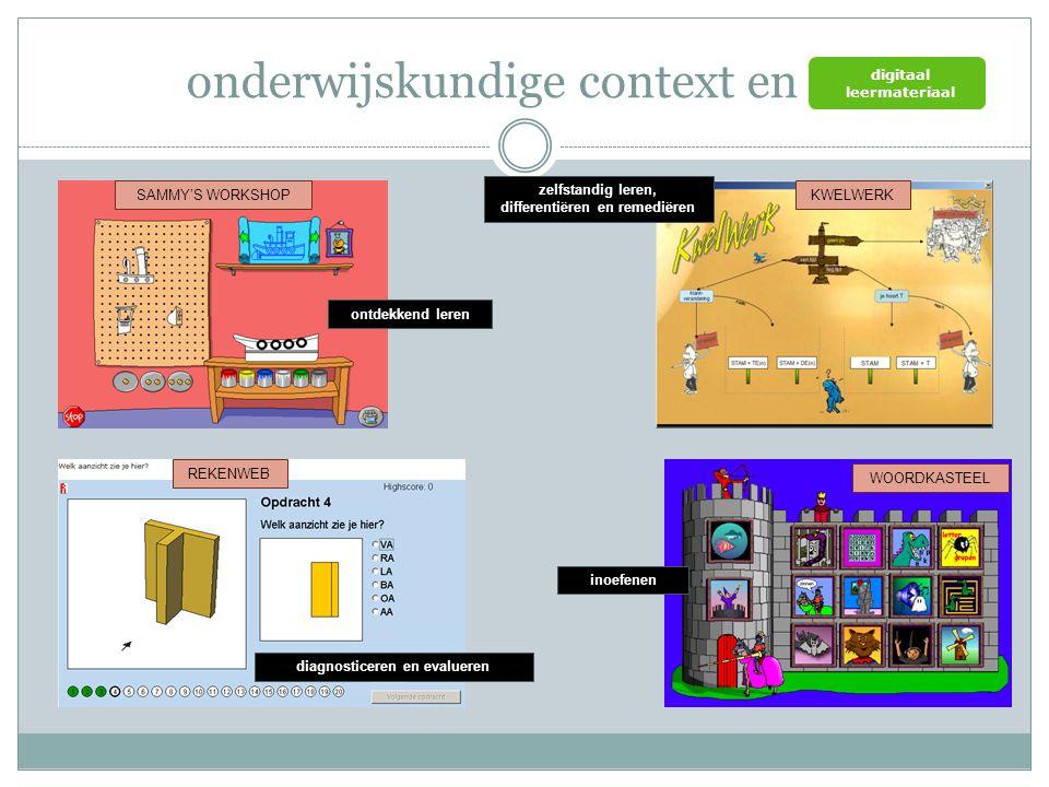 visie op onderwijs kennis en vaardigheden (deskundigheid) educatieve software / content (digitaal leermateriaal) ICT-infrastructuur ICT op een veilige, verantwoorde en doelmatige manier gebruiken een positieve houding tegenover ICT en bereid zijn ICT te gebruiken bij het leren kennis inzicht ervaringen Onderwijskundige context en eindtermen ict (zelfstandig) oefenen in een door ICT ondersteunde leeromgeving (zelfstandig) leren in een door ICT ondersteunde leeromgeving ICT gebruiken om eigen ideeën creatief vorm te geven digitale informatie opzoeken, verwerken en bewaren ICT gebruiken bij het voorstellen van informatie aan anderen ICT gebruiken om te communiceren