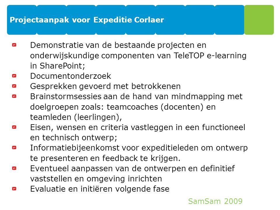 SamSam 2009 Projectaanpak voor Expeditie Corlaer 12 Demonstratie van de bestaande projecten en onderwijskundige componenten van TeleTOP e-learning in