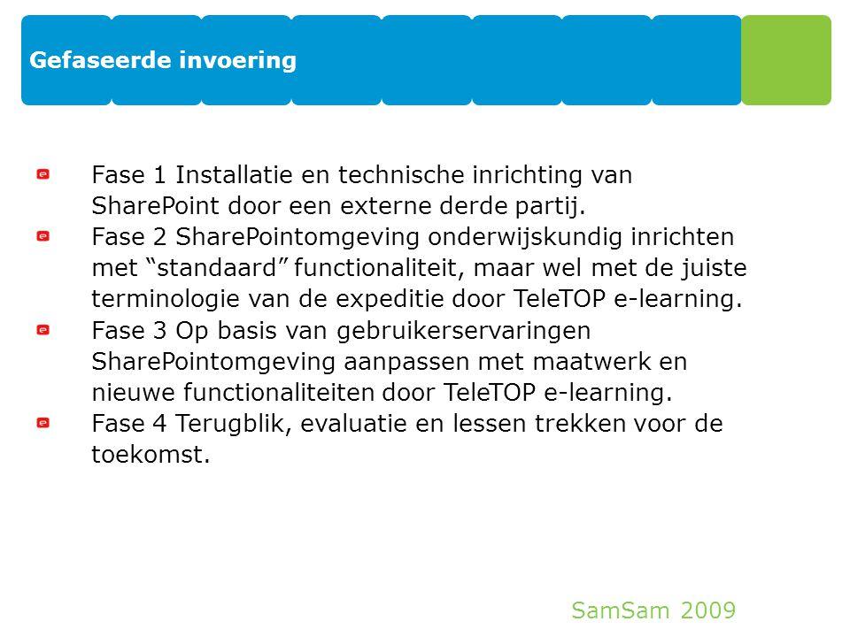 SamSam 2009 Gefaseerde invoering 13 Fase 1 Installatie en technische inrichting van SharePoint door een externe derde partij. Fase 2 SharePointomgevin