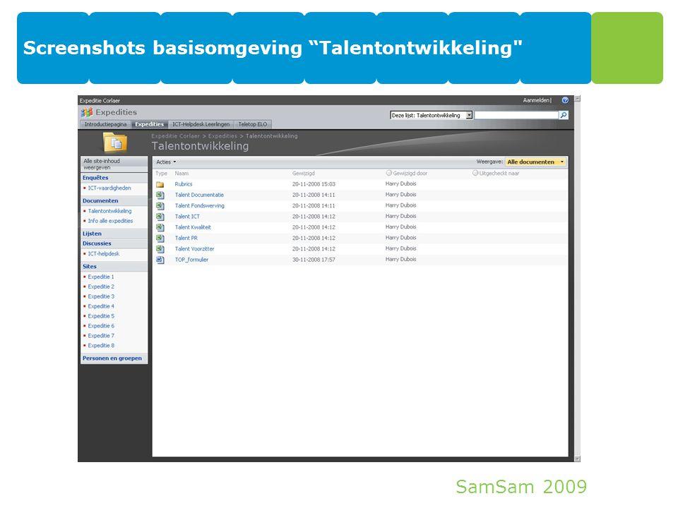 "SamSam 2009 Screenshots basisomgeving ""Talentontwikkeling"