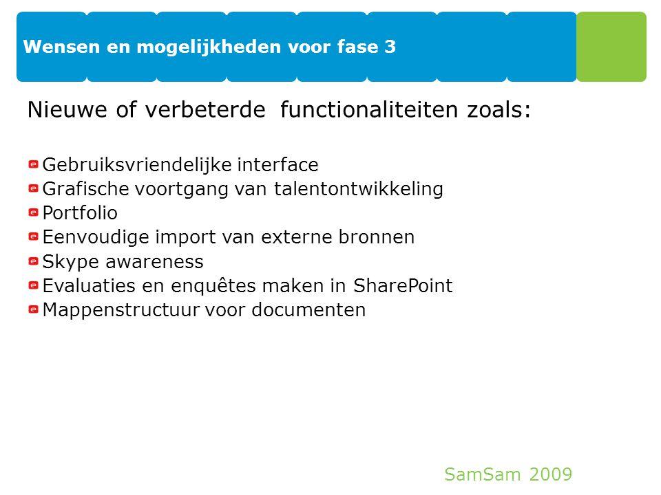 SamSam 2009 Wensen en mogelijkheden voor fase 3 27 Nieuwe of verbeterde functionaliteiten zoals: Gebruiksvriendelijke interface Grafische voortgang va