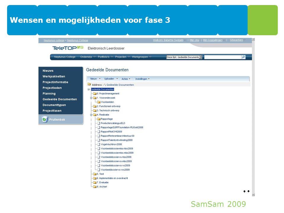 SamSam 2009 Wensen en mogelijkheden voor fase 3 34