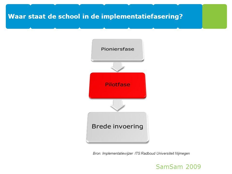 SamSam 2009 Waar staat de school in de implementatiefasering? 7 Bron: Implementatiewijzer ITS Radboud Universiteit Nijmegen