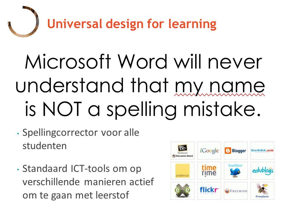 Spellingcorrector voor alle studenten Standaard ICT-tools om op verschillende manieren actief om te gaan met leerstof
