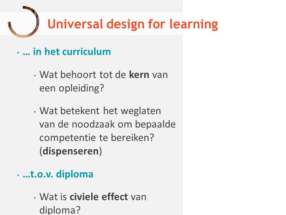 Universal design for learning … in het curriculum Wat behoort tot de kern van een opleiding? Wat betekent het weglaten van de noodzaak om bepaalde com