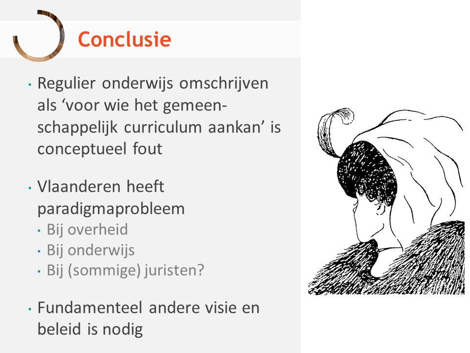 Conclusie Regulier onderwijs omschrijven als 'voor wie het gemeen- schappelijk curriculum aankan' is conceptueel fout Vlaanderen heeft paradigmaproble