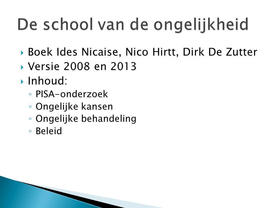  Boek Ides Nicaise, Nico Hirtt, Dirk De Zutter  Versie 2008 en 2013  Inhoud: ◦ PISA-onderzoek ◦ Ongelijke kansen ◦ Ongelijke behandeling ◦ Beleid