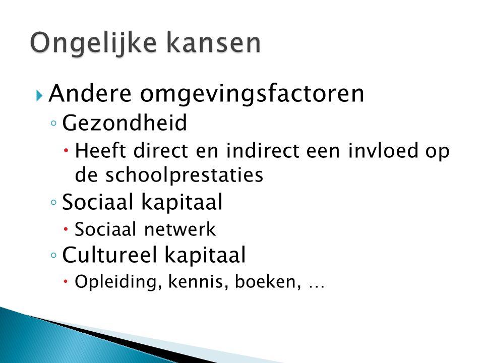  Andere omgevingsfactoren ◦ Gezondheid  Heeft direct en indirect een invloed op de schoolprestaties ◦ Sociaal kapitaal  Sociaal netwerk ◦ Cultureel