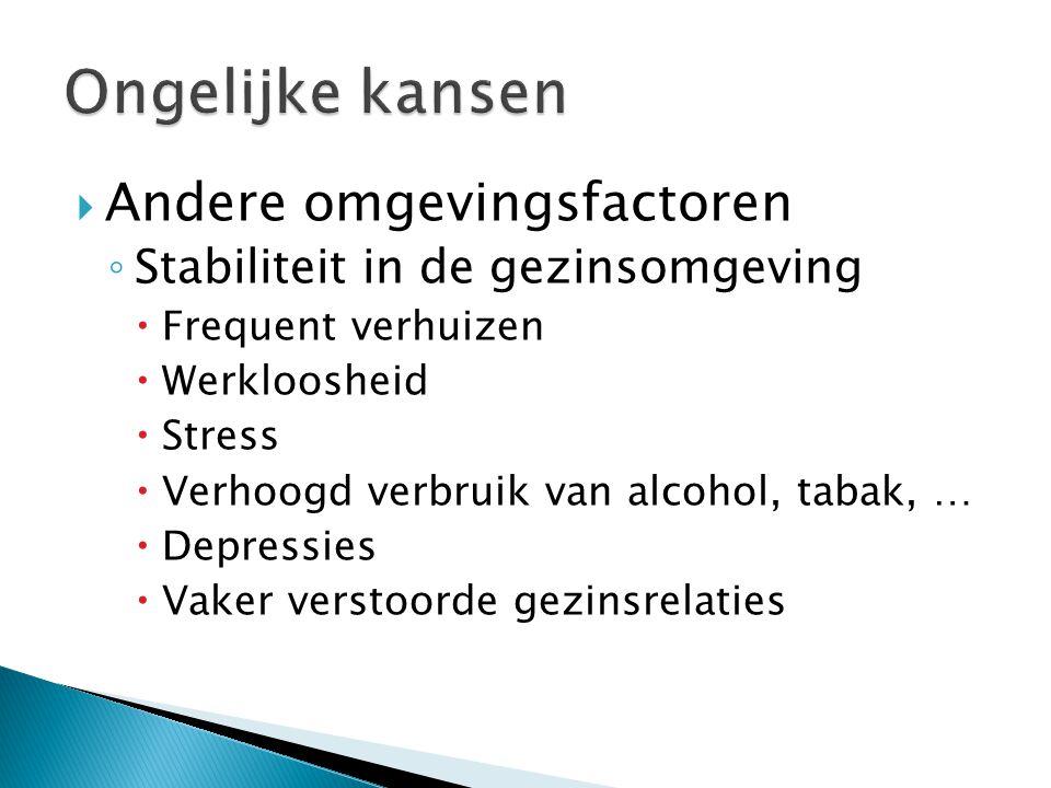  Andere omgevingsfactoren ◦ Stabiliteit in de gezinsomgeving  Frequent verhuizen  Werkloosheid  Stress  Verhoogd verbruik van alcohol, tabak, … 