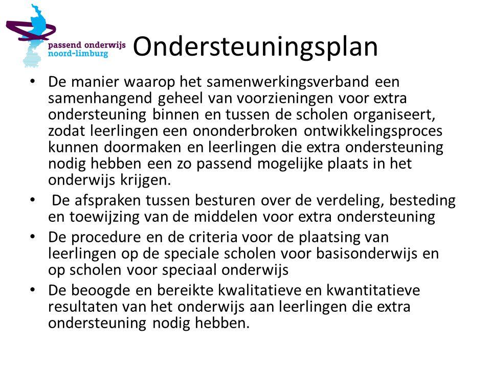 Ondersteuningsplan De manier waarop het samenwerkingsverband een samenhangend geheel van voorzieningen voor extra ondersteuning binnen en tussen de sc