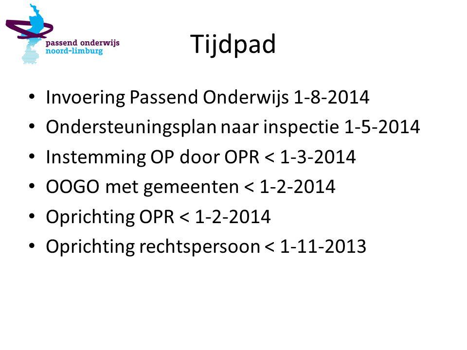 Tijdpad Invoering Passend Onderwijs 1-8-2014 Ondersteuningsplan naar inspectie 1-5-2014 Instemming OP door OPR < 1-3-2014 OOGO met gemeenten < 1-2-201
