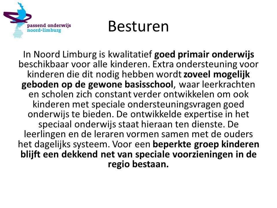 Besturen In Noord Limburg is kwalitatief goed primair onderwijs beschikbaar voor alle kinderen. Extra ondersteuning voor kinderen die dit nodig hebben