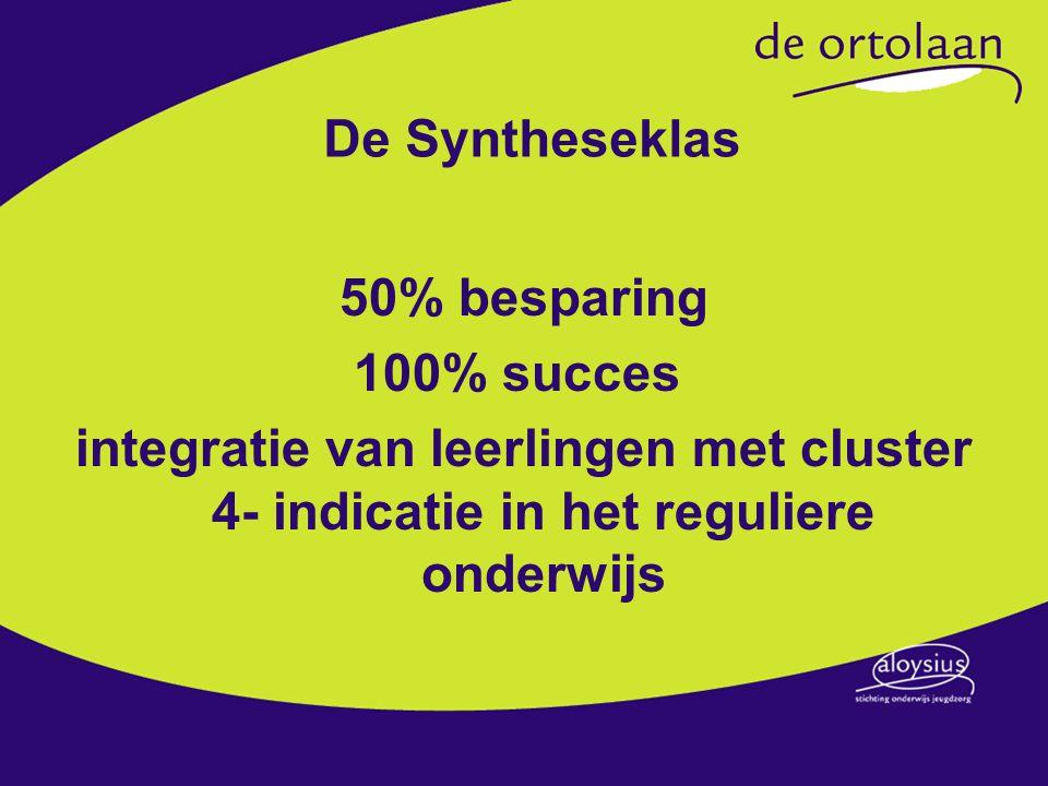 De Syntheseklas 50% besparing 100% succes integratie van leerlingen met cluster 4- indicatie in het reguliere onderwijs