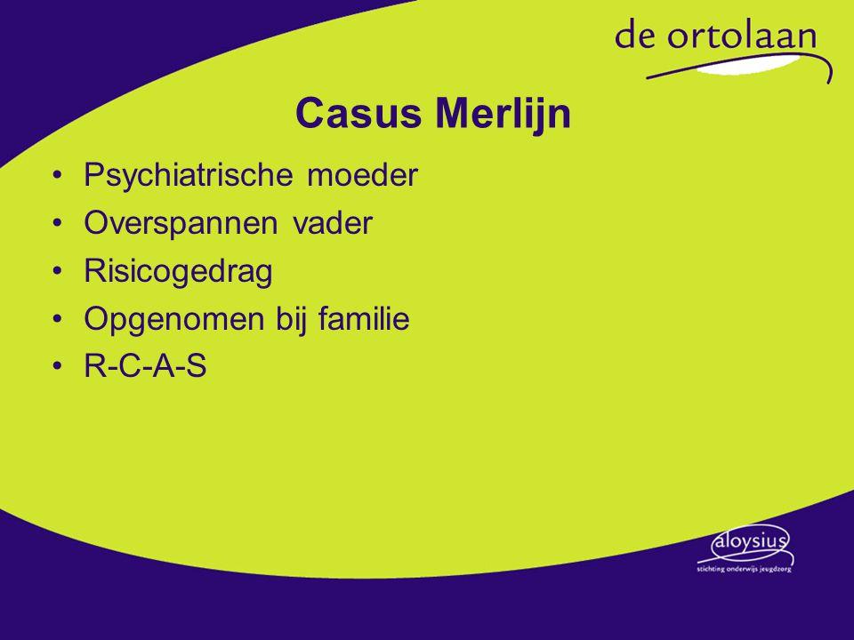 Casus Merlijn Psychiatrische moeder Overspannen vader Risicogedrag Opgenomen bij familie R-C-A-S