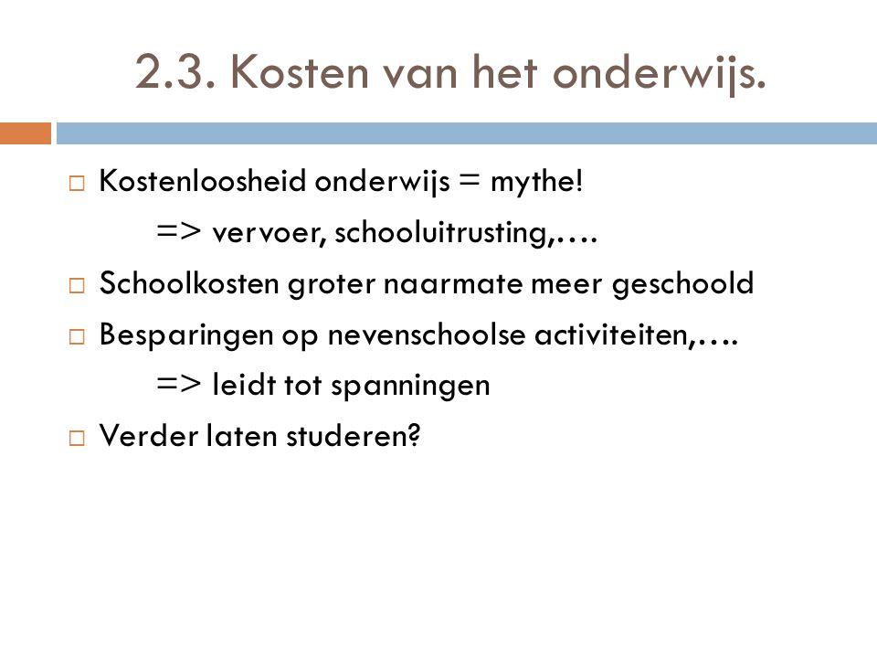2.3. Kosten van het onderwijs.  Kostenloosheid onderwijs = mythe! => vervoer, schooluitrusting,….  Schoolkosten groter naarmate meer geschoold  Bes