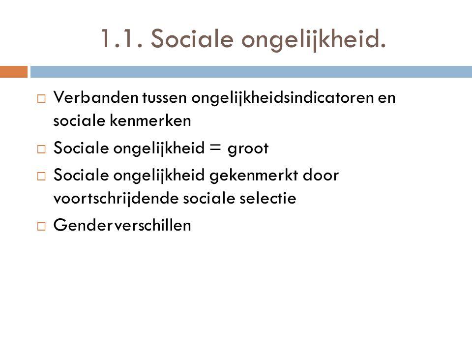 1.1. Sociale ongelijkheid.  Verbanden tussen ongelijkheidsindicatoren en sociale kenmerken  Sociale ongelijkheid = groot  Sociale ongelijkheid geke