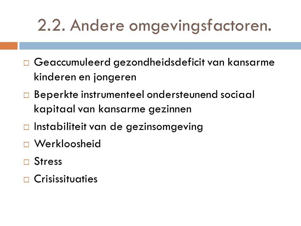 2.2. Andere omgevingsfactoren.  Geaccumuleerd gezondheidsdeficit van kansarme kinderen en jongeren  Beperkte instrumenteel ondersteunend sociaal kap