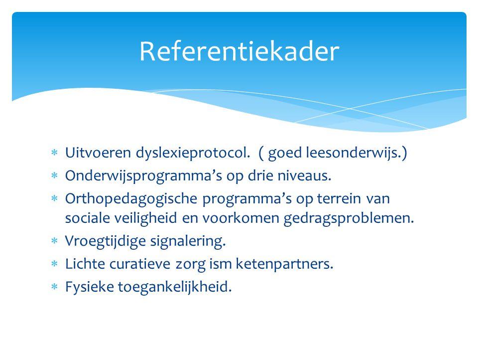  Uitvoeren dyslexieprotocol. ( goed leesonderwijs.)  Onderwijsprogramma's op drie niveaus.  Orthopedagogische programma's op terrein van sociale ve