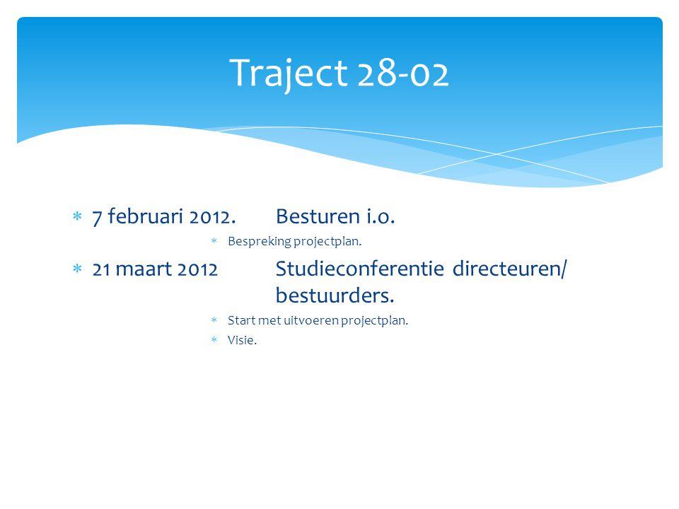  7 februari 2012.Besturen i.o.  Bespreking projectplan.  21 maart 2012Studieconferentie directeuren/ bestuurders.  Start met uitvoeren projectplan
