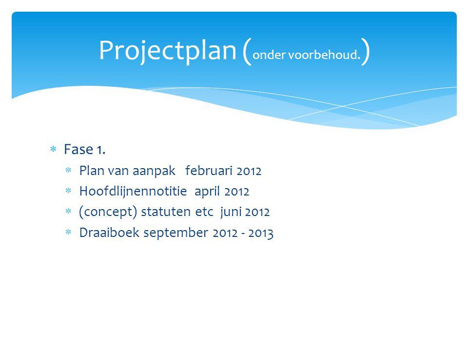  Fase 1.  Plan van aanpak februari 2012  Hoofdlijnennotitie april 2012  (concept) statuten etc juni 2012  Draaiboek september 2012 - 2013 Project