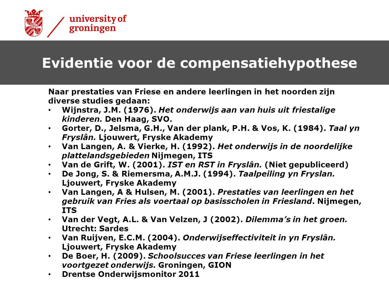 Naar prestaties van Friese en andere leerlingen in het noorden zijn diverse studies gedaan: Wijnstra, J.M. (1976). Het onderwijs aan van huis uit frie