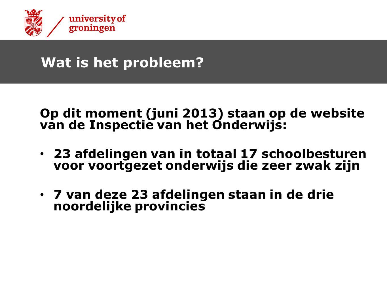Op dit moment (juni 2013) staan op de website van de Inspectie van het Onderwijs: 23 afdelingen van in totaal 17 schoolbesturen voor voortgezet onderw