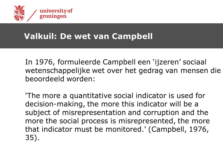 Valkuil: De wet van Campbell In 1976, formuleerde Campbell een 'ijzeren' sociaal wetenschappelijke wet over het gedrag van mensen die beoordeeld worde