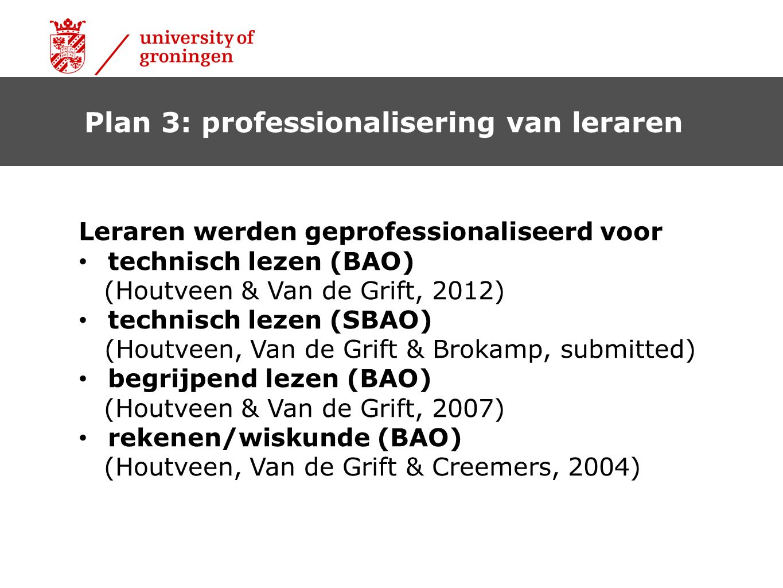 Plan 3: professionalisering van leraren Leraren werden geprofessionaliseerd voor technisch lezen (BAO) (Houtveen & Van de Grift, 2012) technisch lezen (SBAO) (Houtveen, Van de Grift & Brokamp, submitted) begrijpend lezen (BAO) (Houtveen & Van de Grift, 2007) rekenen/wiskunde (BAO) (Houtveen, Van de Grift & Creemers, 2004)