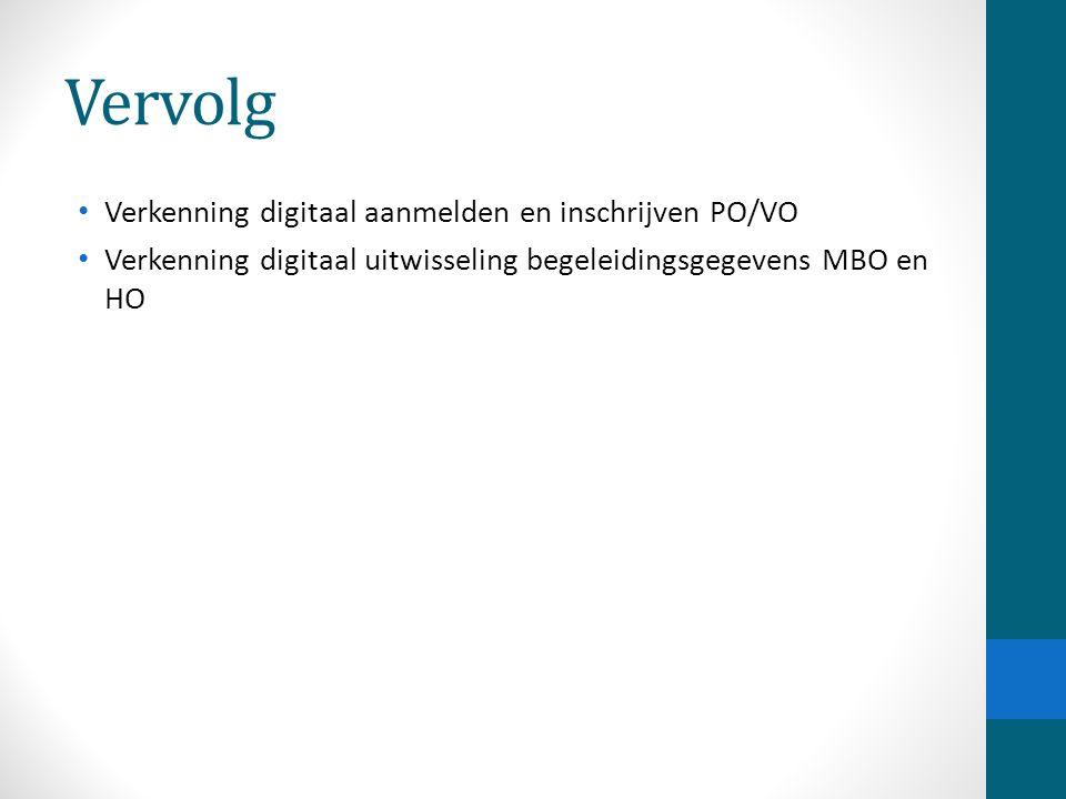Vervolg Verkenning digitaal aanmelden en inschrijven PO/VO Verkenning digitaal uitwisseling begeleidingsgegevens MBO en HO
