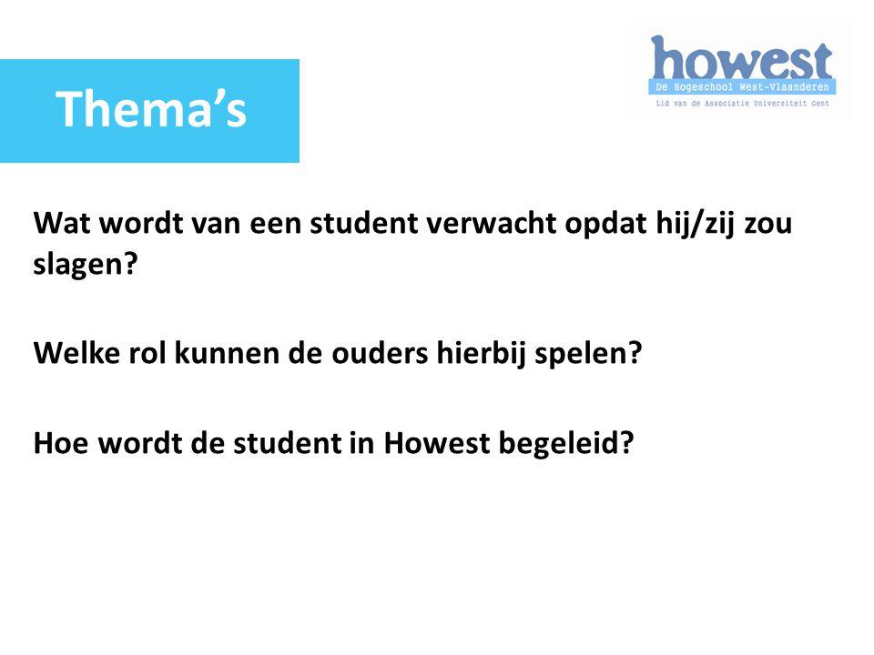 Wat wordt van een student verwacht opdat hij/zij zou slagen? Welke rol kunnen de ouders hierbij spelen? Hoe wordt de student in Howest begeleid? Thema