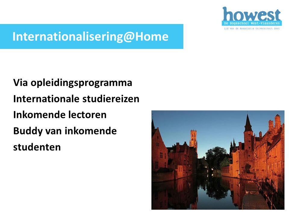 Via opleidingsprogramma Internationale studiereizen Inkomende lectoren Buddy van inkomende studenten Internationalisering@Home