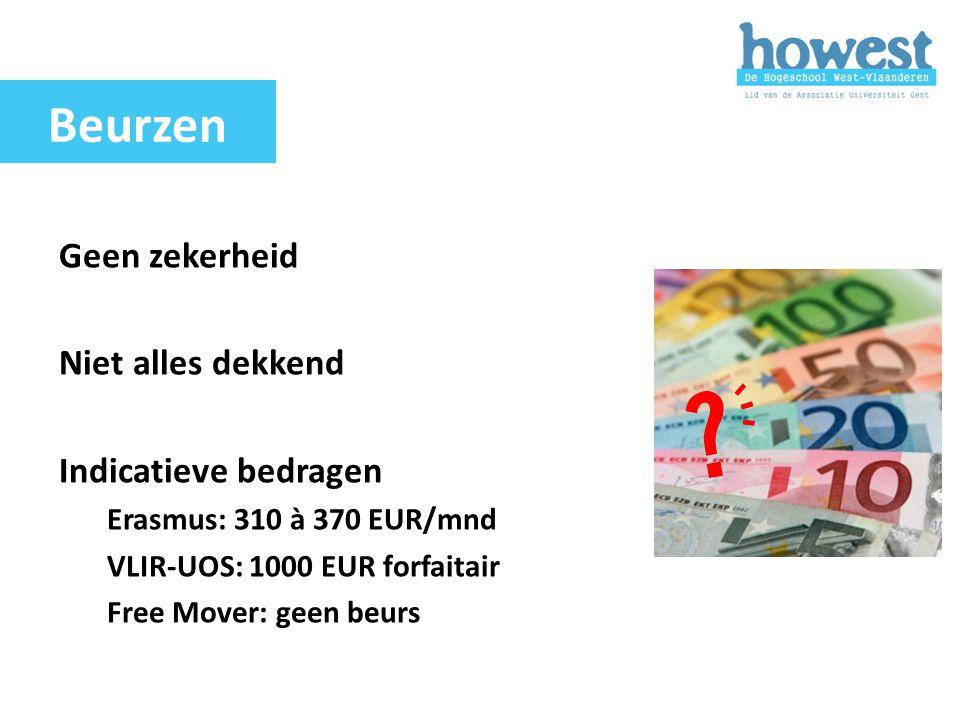 Geen zekerheid Niet alles dekkend Indicatieve bedragen Erasmus: 310 à 370 EUR/mnd VLIR-UOS: 1000 EUR forfaitair Free Mover: geen beurs Beurzen