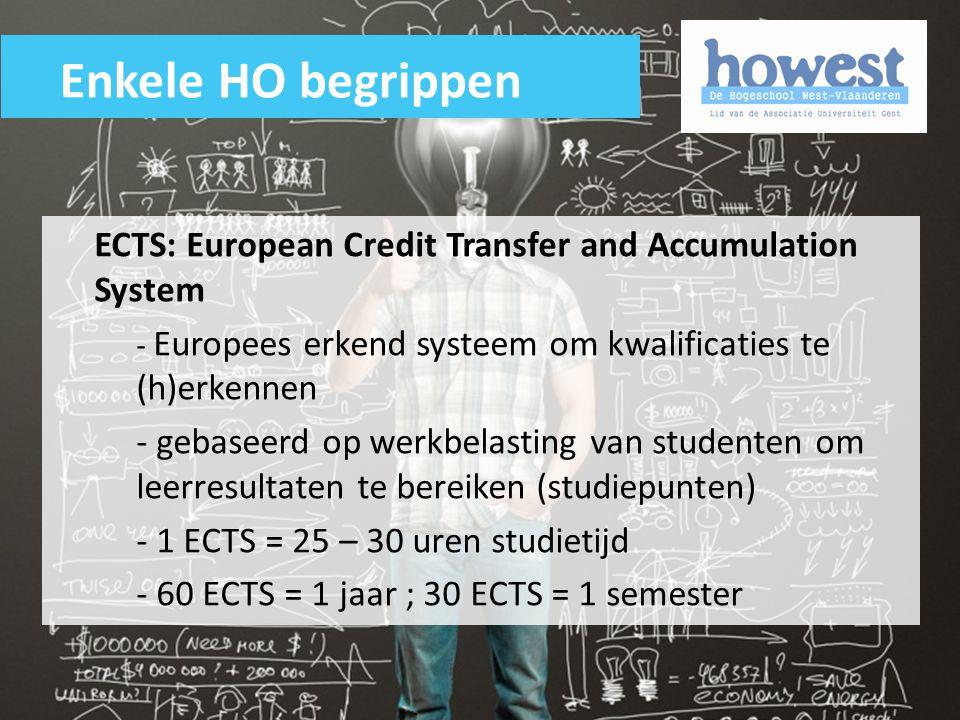 ECTS: European Credit Transfer and Accumulation System - Europees erkend systeem om kwalificaties te (h)erkennen - gebaseerd op werkbelasting van stud