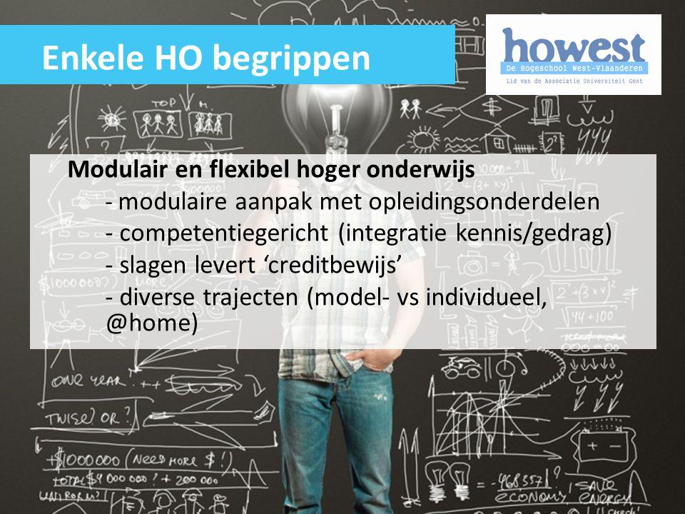 Modulair en flexibel hoger onderwijs - modulaire aanpak met opleidingsonderdelen - competentiegericht (integratie kennis/gedrag) - slagen levert 'cred