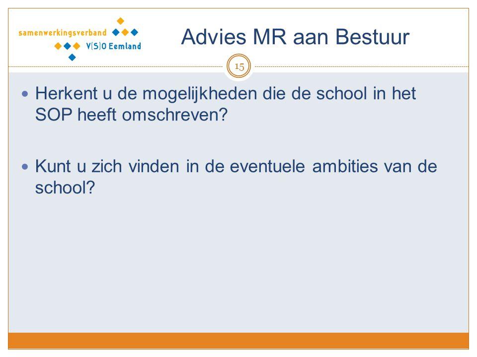 Advies MR aan Bestuur 15 Herkent u de mogelijkheden die de school in het SOP heeft omschreven? Kunt u zich vinden in de eventuele ambities van de scho