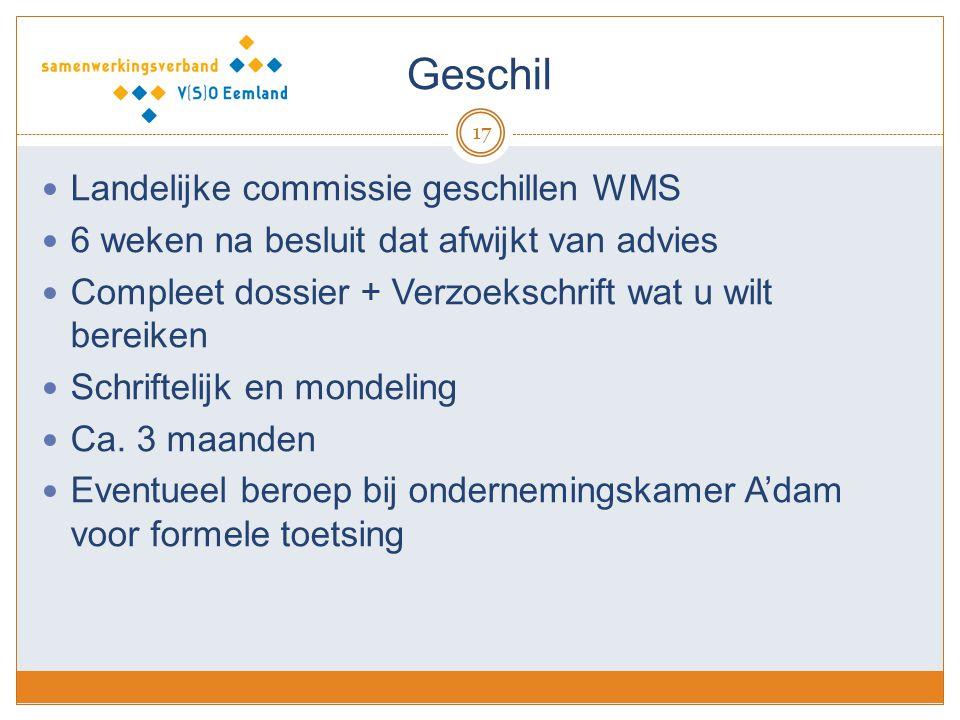 Geschil 17 Landelijke commissie geschillen WMS 6 weken na besluit dat afwijkt van advies Compleet dossier + Verzoekschrift wat u wilt bereiken Schrift