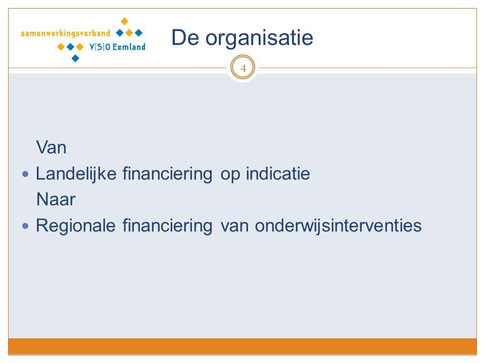 De organisatie 4 Van Landelijke financiering op indicatie Naar Regionale financiering van onderwijsinterventies