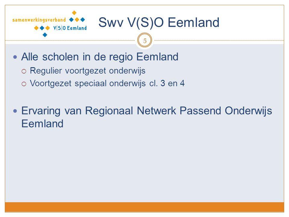 Swv V(S)O Eemland 5 Alle scholen in de regio Eemland  Regulier voortgezet onderwijs  Voortgezet speciaal onderwijs cl. 3 en 4 Ervaring van Regionaal