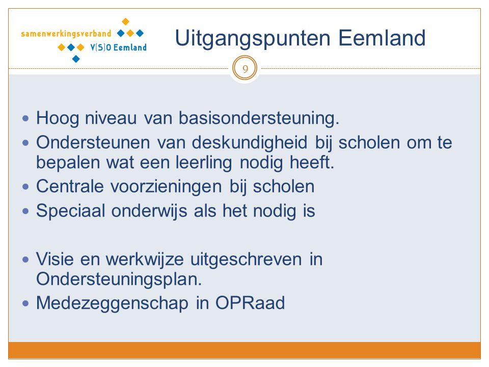 Uitgangspunten Eemland 9 Hoog niveau van basisondersteuning. Ondersteunen van deskundigheid bij scholen om te bepalen wat een leerling nodig heeft. Ce