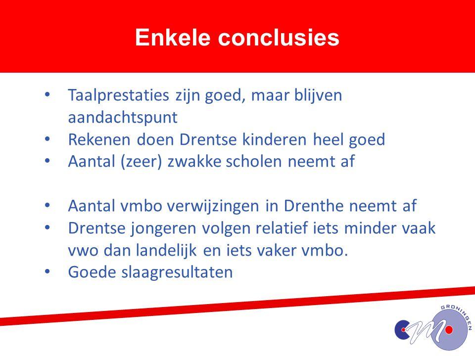Enkele conclusies Taalprestaties zijn goed, maar blijven aandachtspunt Rekenen doen Drentse kinderen heel goed Aantal (zeer) zwakke scholen neemt af A