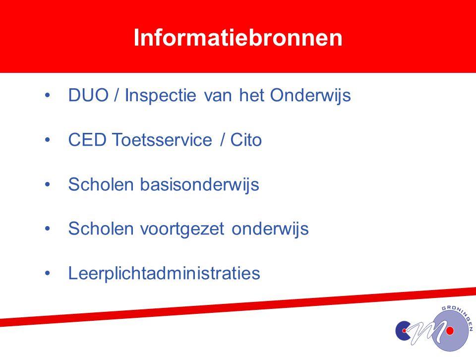 Informatiebronnen DUO / Inspectie van het Onderwijs CED Toetsservice / Cito Scholen basisonderwijs Scholen voortgezet onderwijs Leerplichtadministrati