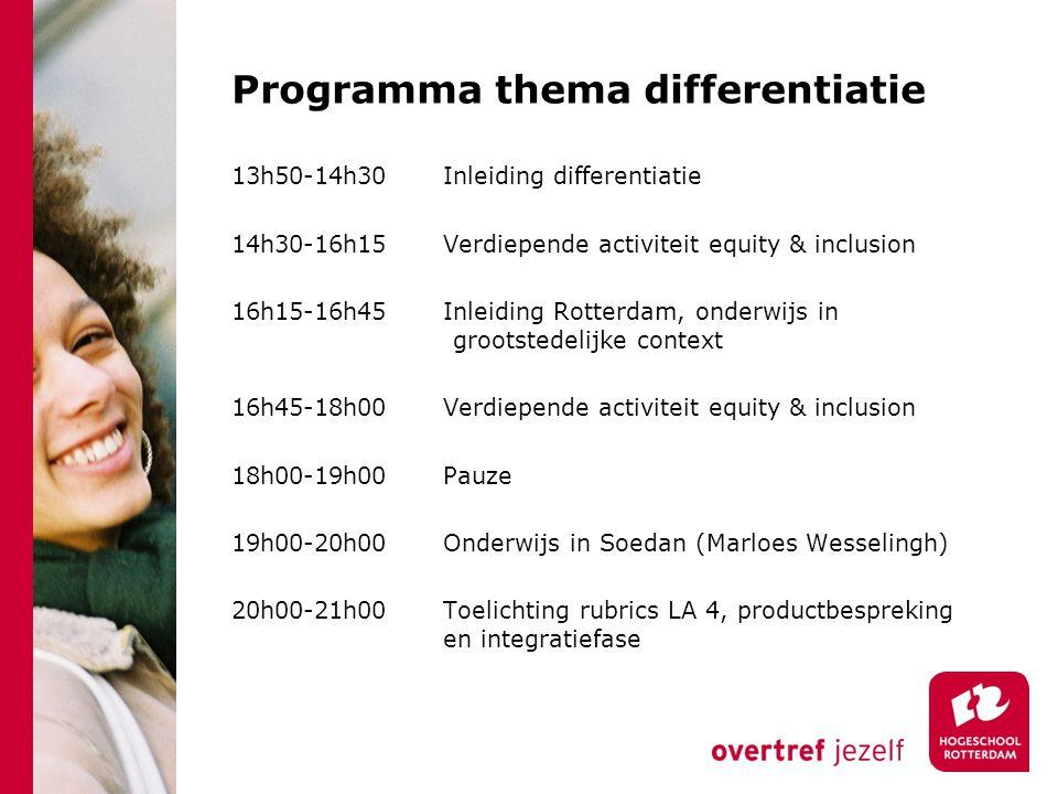 Programma thema differentiatie 13h50-14h30 Inleiding differentiatie 14h30-16h15 Verdiepende activiteit equity & inclusion 16h15-16h45 Inleiding Rotter