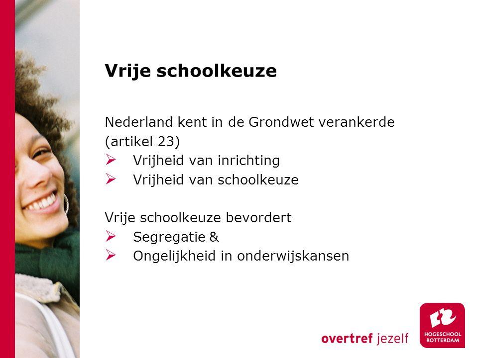 Vrije schoolkeuze Nederland kent in de Grondwet verankerde (artikel 23)  Vrijheid van inrichting  Vrijheid van schoolkeuze Vrije schoolkeuze bevorde