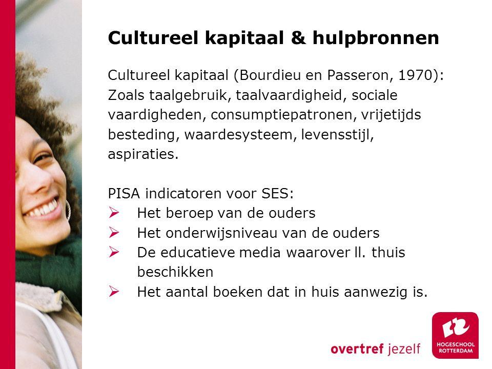 Cultureel kapitaal & hulpbronnen Cultureel kapitaal (Bourdieu en Passeron, 1970): Zoals taalgebruik, taalvaardigheid, sociale vaardigheden, consumptie